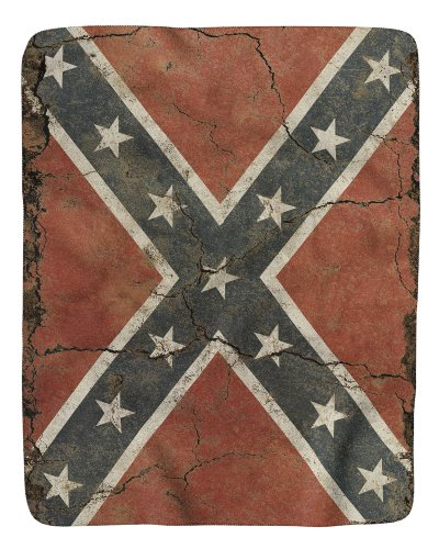 Cracked Concrete Confederate flag sherpa fleece blanket
