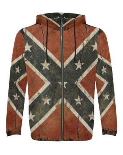 Cracked Concrete Confederate Flag all over polyester mens hoodie
