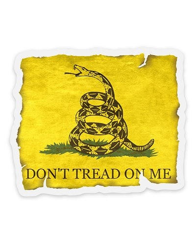 distressed Gadsden Dont Tread On Me clear decal