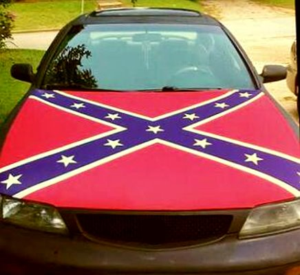 Confederate Battle Flag vehicle hood cover
