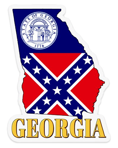 old Georgia State Flag clear decal