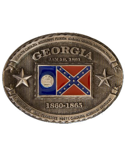 old Georgia State flag oval belt buckle